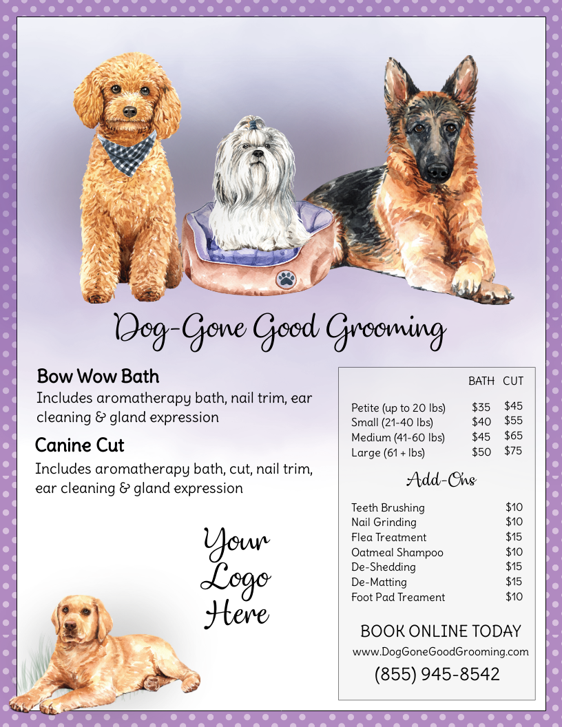Dog Groomers Service Menu Pet Grooming Cat Groomer Service List Dog Spa Menu Doggy Day Care Pet Sitting Pet Care Service Template In 2020 Pet Care Pet Care Business Dog Groomers