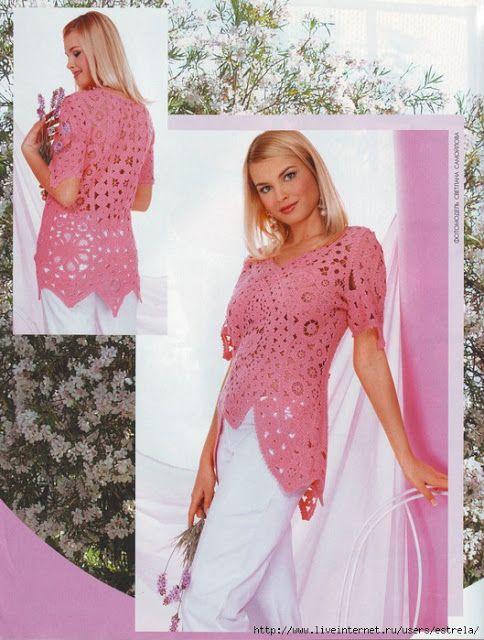 Blätter Und Blüten Tunika Häkeln Irish Crochet Tunic Croche