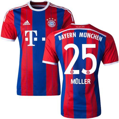 Mens Adidas Bayern Munich  25 Thomas Muller Replica Blue   Red Stripes Home  Short Shirt 14 15 Spain Football Club Soccer Jersey fbd241dc6