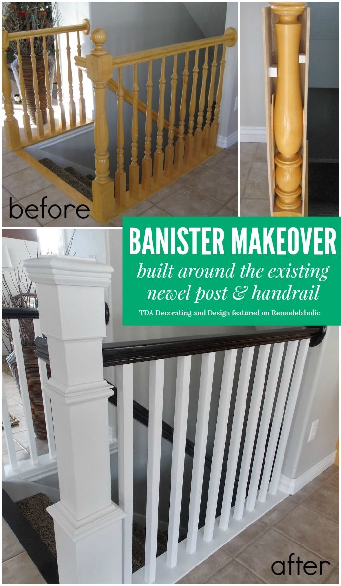 Beautiful stair railing renovation using the existing newel post and ...