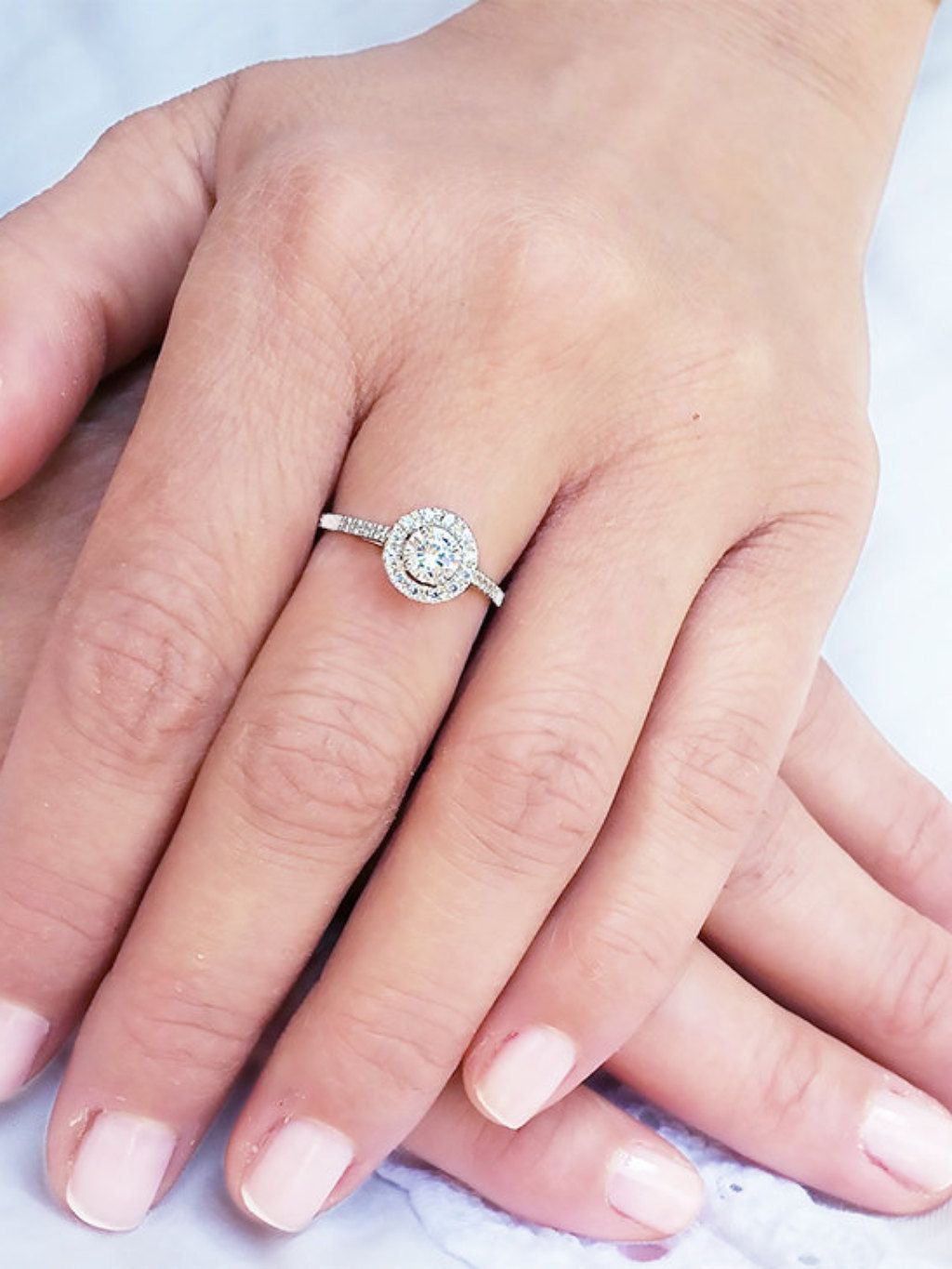 18K gold halo ring, Halo engagement ring, White gold halo ring ...