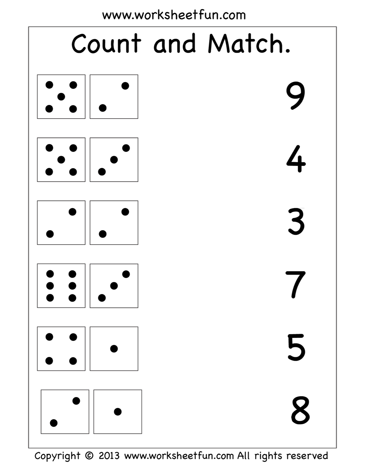 Count And Match Worksheet Preschool Math Worksheets Kindergarten Math Worksheets Kindergarten Math Worksheets Free