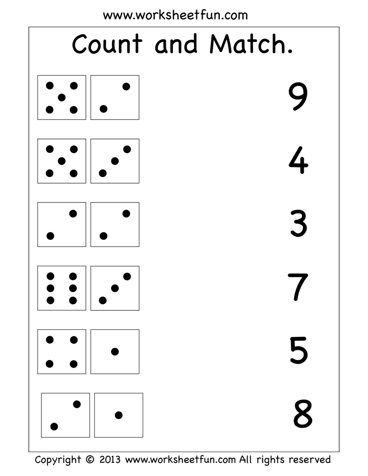 Count And Match Worksheet Preschool Math Worksheets Kindergarten Math Worksheets Kindergarten Math Worksheets Free [ 1553 x 1200 Pixel ]