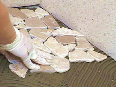 Mixed Quartz Mosaic Tile Pebble Tile Shower Shower Installation
