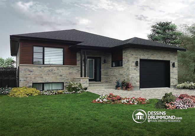 W3281 maison contemporaine split level aire ouverte for Split level house plans with attached garage
