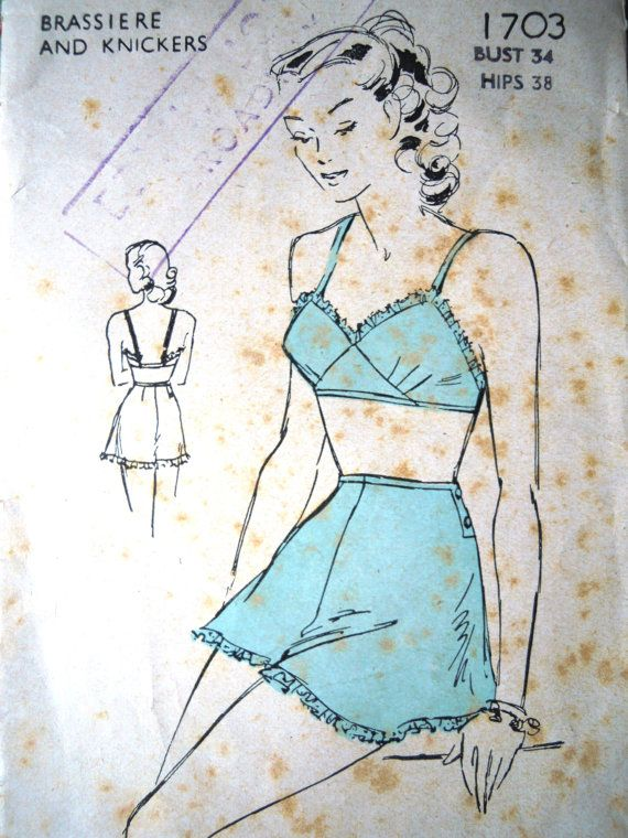 Vintage 1940s Weldons Sewing Pattern British Tap Pants Bra B 34 Rare ...