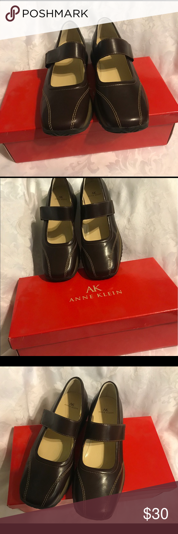 Ak Anne Klein shoes Brand new, chocolate color, leather upper, size 8m, Anne Klein Shoes Flats & Loafers
