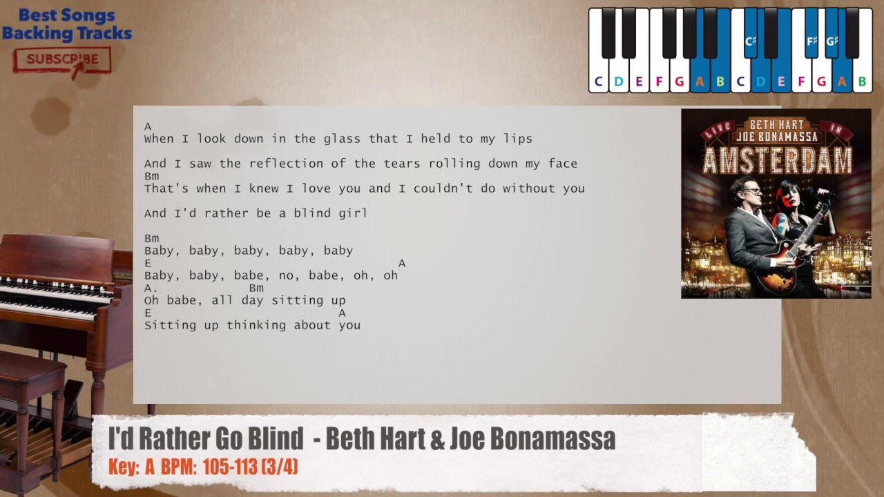 Id Rather Go Blind Beth Hart Joe Bonamassa Piano Backing Track