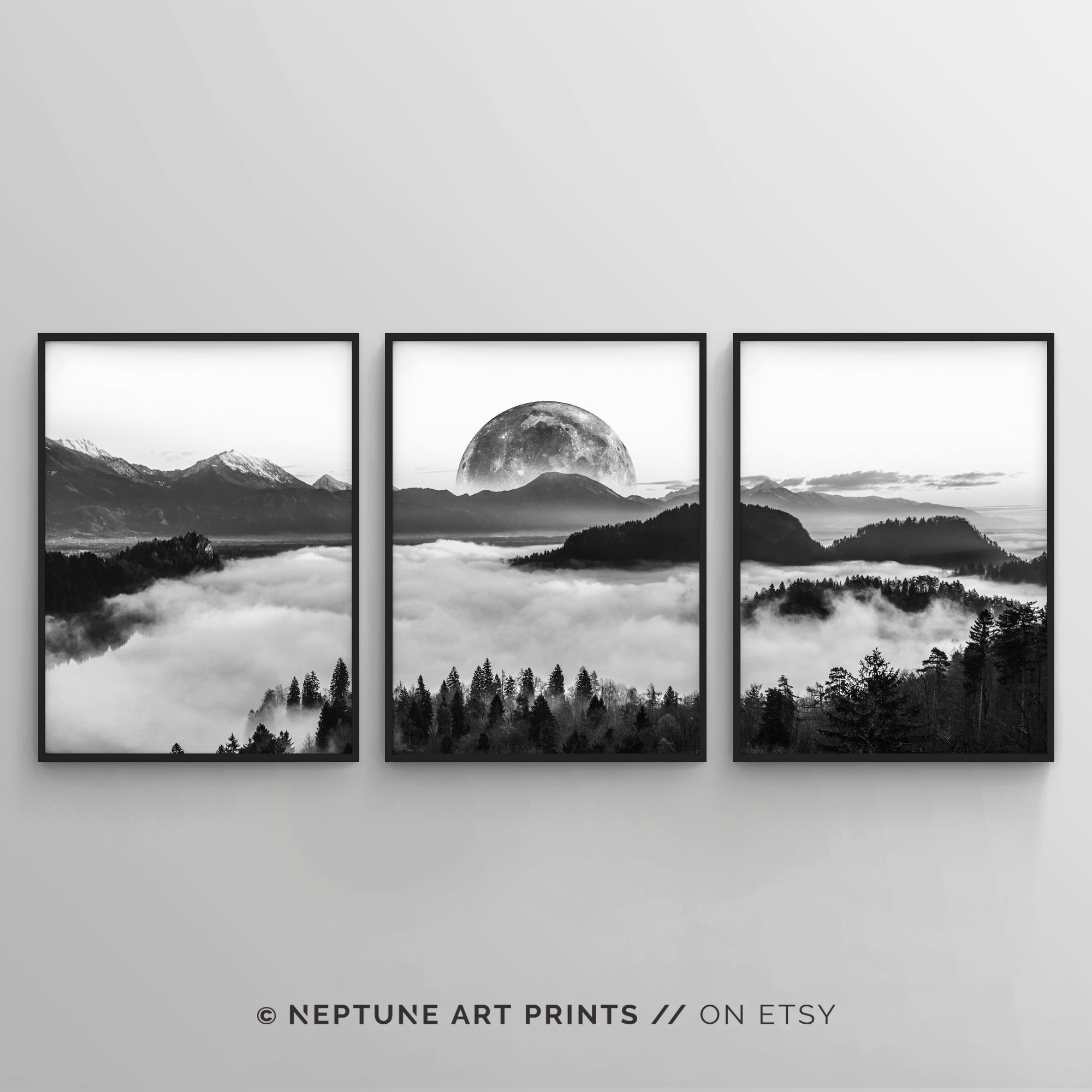 Black And White Photography Wall Art Poster Print Set Of 3 Piece Fog Forest Landscape Set Full Moon Nature Large Home Decor 24x36 18x24 Photography Wall Art Nature Prints Wall Art