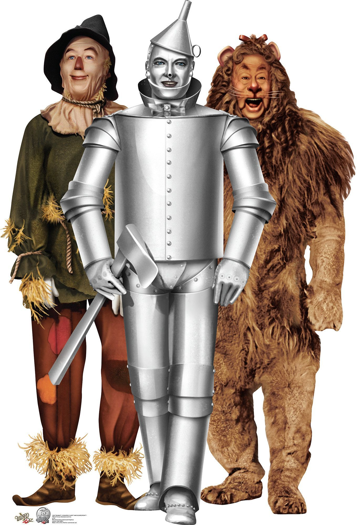 Tin Man Cowardly Lion And Scarecrow Wizard Of Oz 75 Year Anniversary Cardboard Stand Up