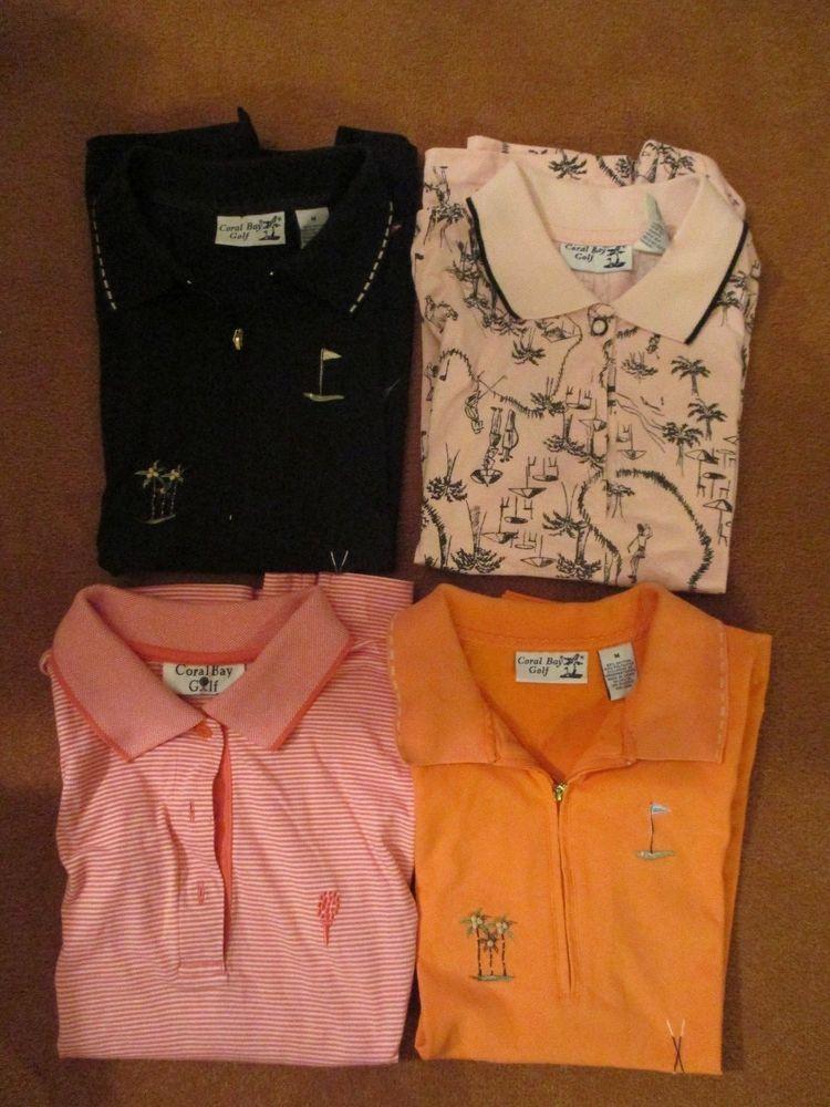 Set Of 4 Tops Ladies Medium Coral Bay Golf Black Orange Pink