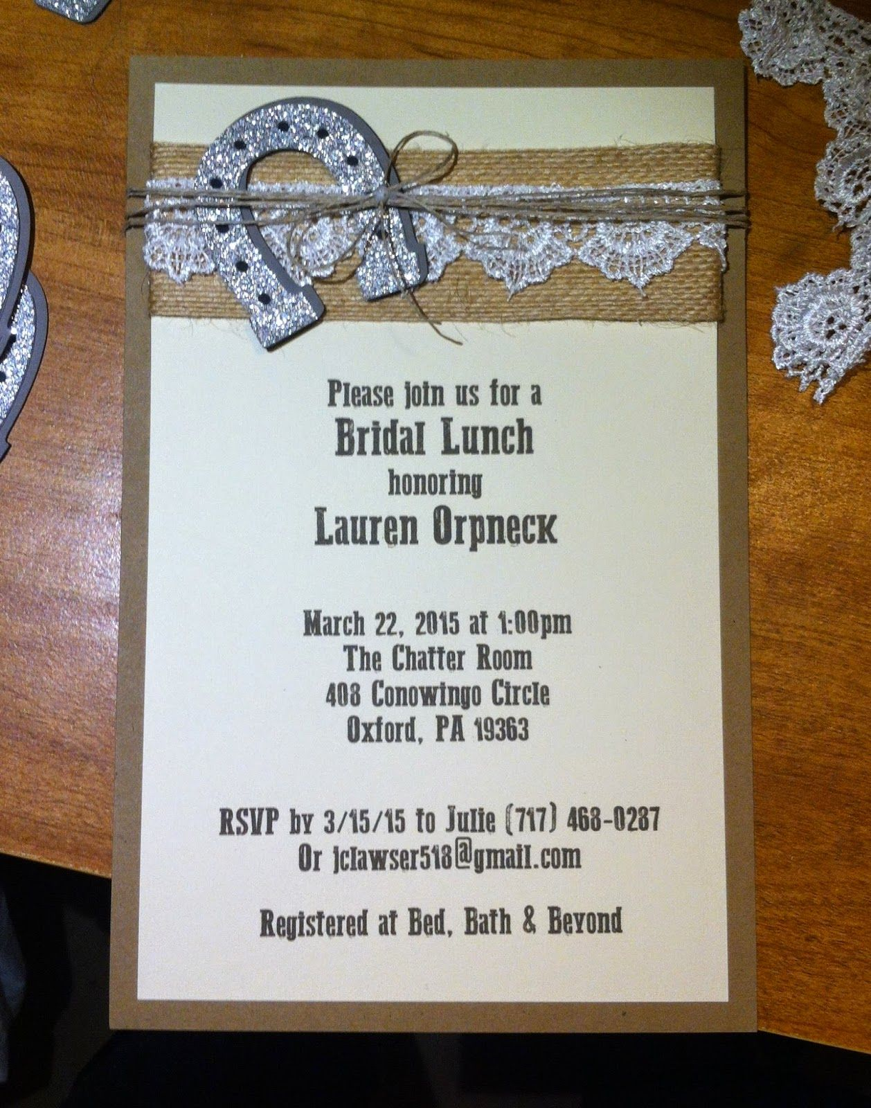 Country Chic Bridal Shower Invitation - Burlap, Lace, Twine & a ...