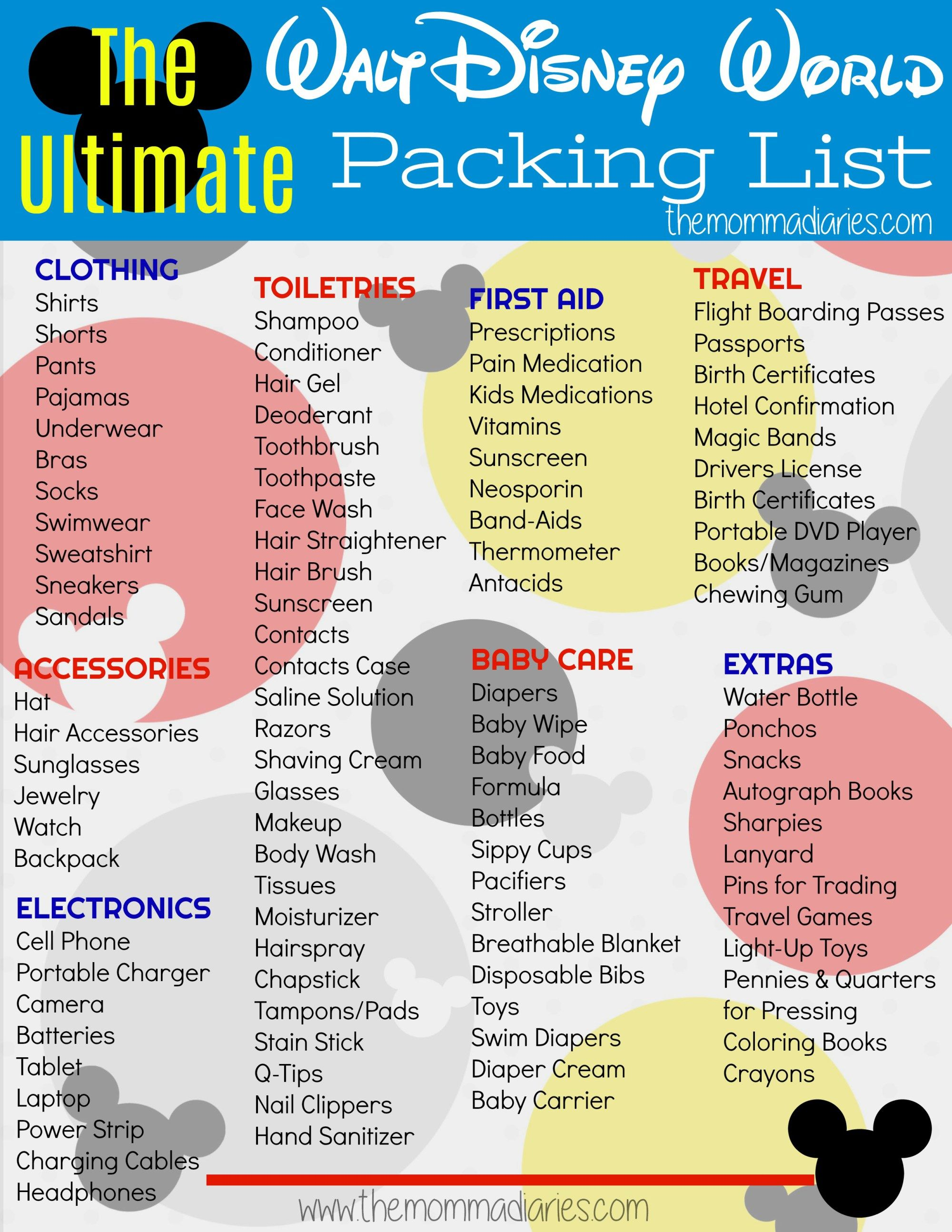 The Ultimate Disney Packing List Free Printable