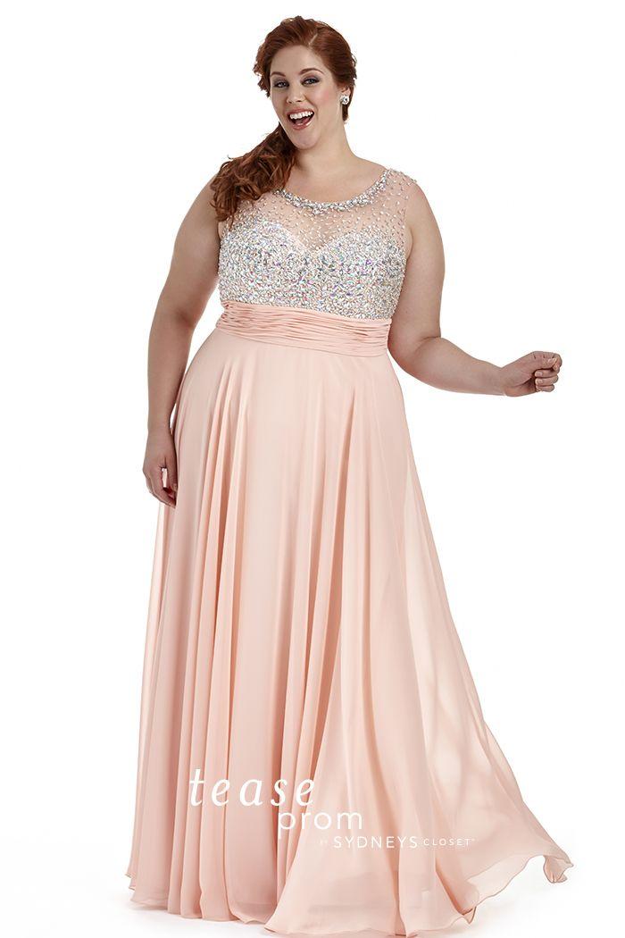 Plus Size Beaded Blush Prom Gown | Prom(: | Pinterest | Blush prom ...