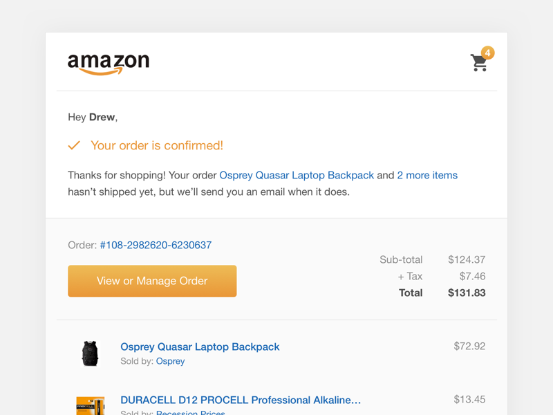 Amazon Order Confirmation Email Amazon Orders Order Confirmation Email Confirmation Page