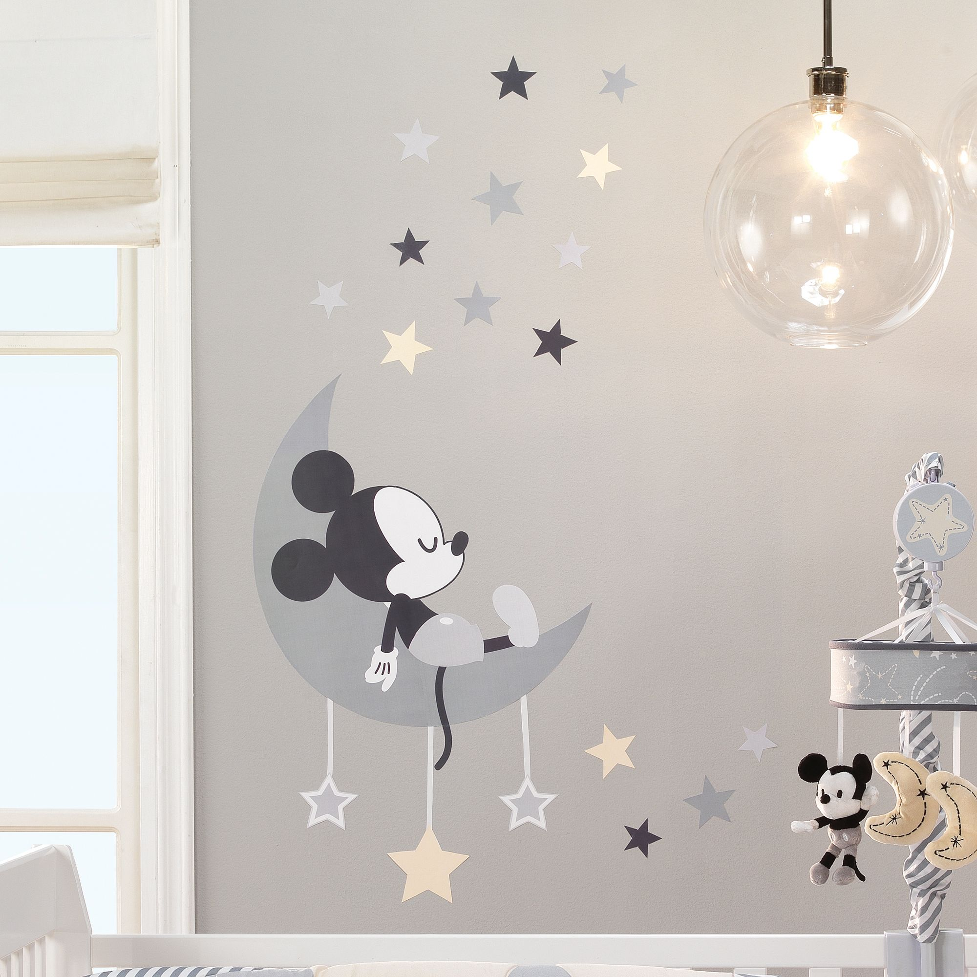 decal Mickey font Bedroom Nursery Baby Cot Crib personalised Sticker