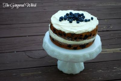 Blueberry Zucchini Cake with Lemon Buttercream Frosting #lemonbuttercream
