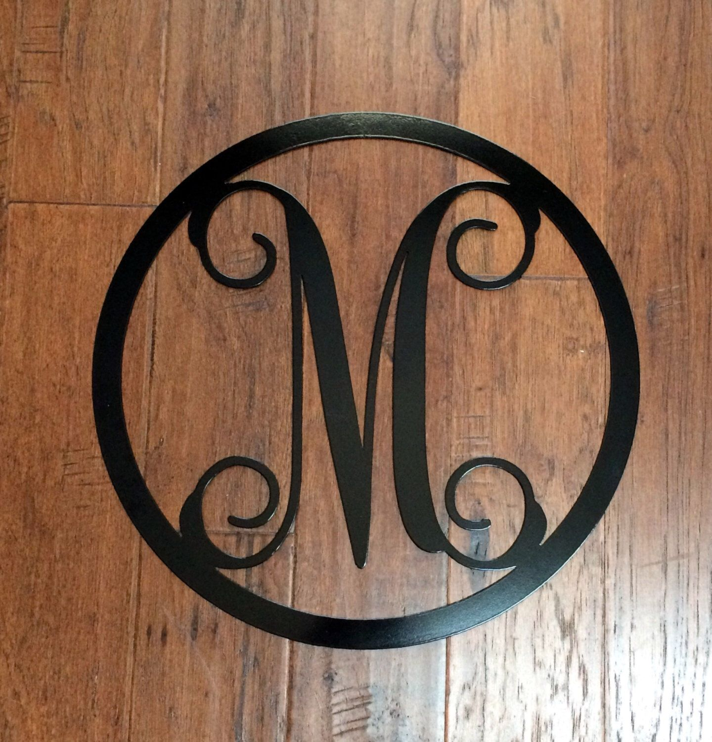 metal monogram letter with circle border wreath doorwall hanginginitial