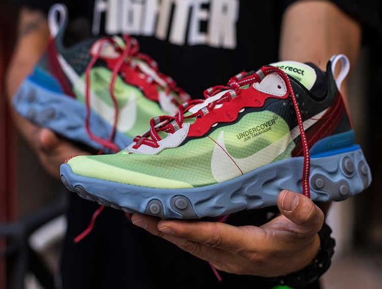 88b0e6b7e38b Nike React Element 87 x Undercover Volt University Red   Lakeside Electric  Yellow