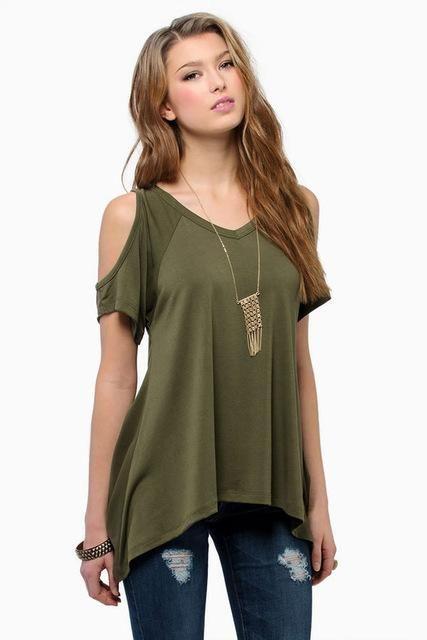 c169ecbc7c973 Women s Off Shoulder - Hi-Low Hem Shirts