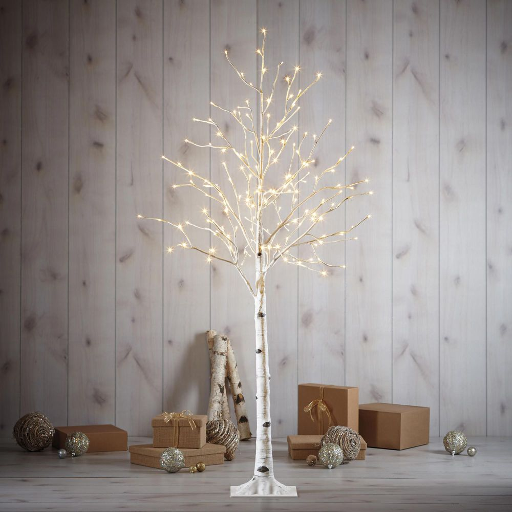 Costco Twinkling Christmas Tree: Indoor Outdoor Christmas 5.5 Foot LED Birch Tree Warm