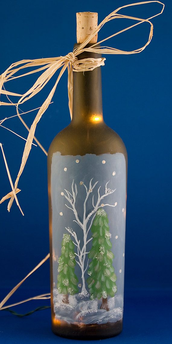 Lighted Wine Bottle Hand Painted Winter Scene Christmas Decoration Glitter Trees Accent Lamp Night Light Frosted Glass Wine Bottle Crafts Wine Bottle Diy Crafts Lighted Wine Bottles