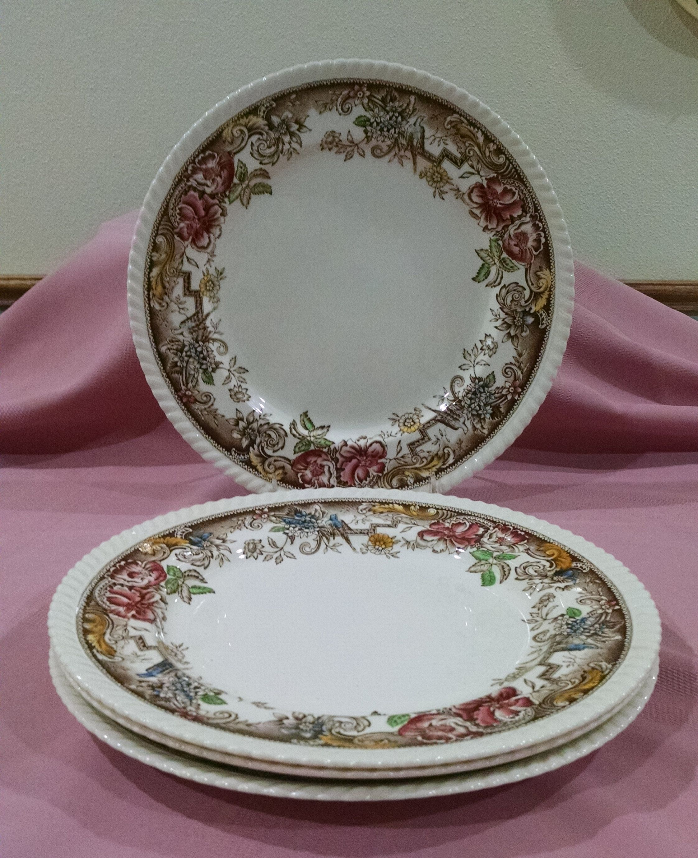 Devonshire 10 Inch Dinner Plates Johnson Bros England Set Of 4 Brown And Ivory With Multicolored Flowers And Birds Vintage Dinnerware Plates Vintage Plates