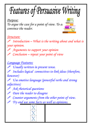 persuasive essays characteristics At the end of the tutorial the students will: 1 know the basic characteristics and expectations of a persuasive essay 2 do a quick t-chart plan on their topic.