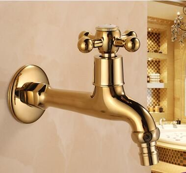 Free Shipping Long Gold Brass Decorative Garden Faucets Single Cold Bibcock  Faucet Washing Machine Tap Outdoor