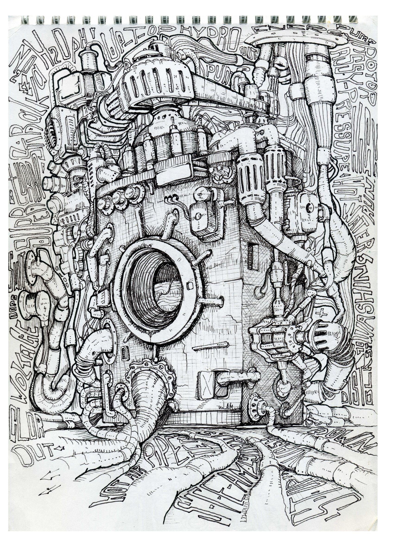 washmachine draw art t-shirts comics Дизельпанк Стимпанк Биомеханика. Автор Любимов Алексей/Autor Alexei Lubimov