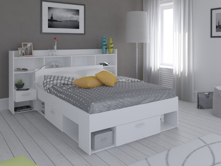 lit t te de lit kylian avec rangements 140x190cm blanc prix promo lit vente unique. Black Bedroom Furniture Sets. Home Design Ideas