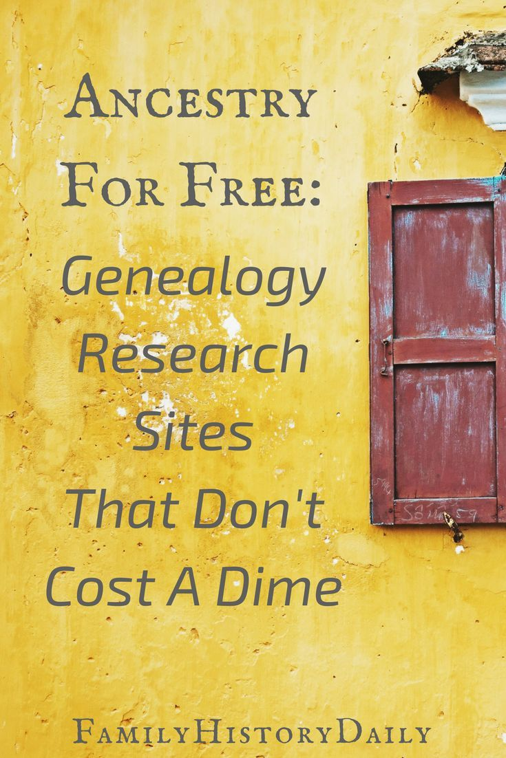 Ancestry for Free: Genealogy Research Sites That Don't Cost a Dime |  Pinterest | Free genealogy, Genealogy and Ancestry