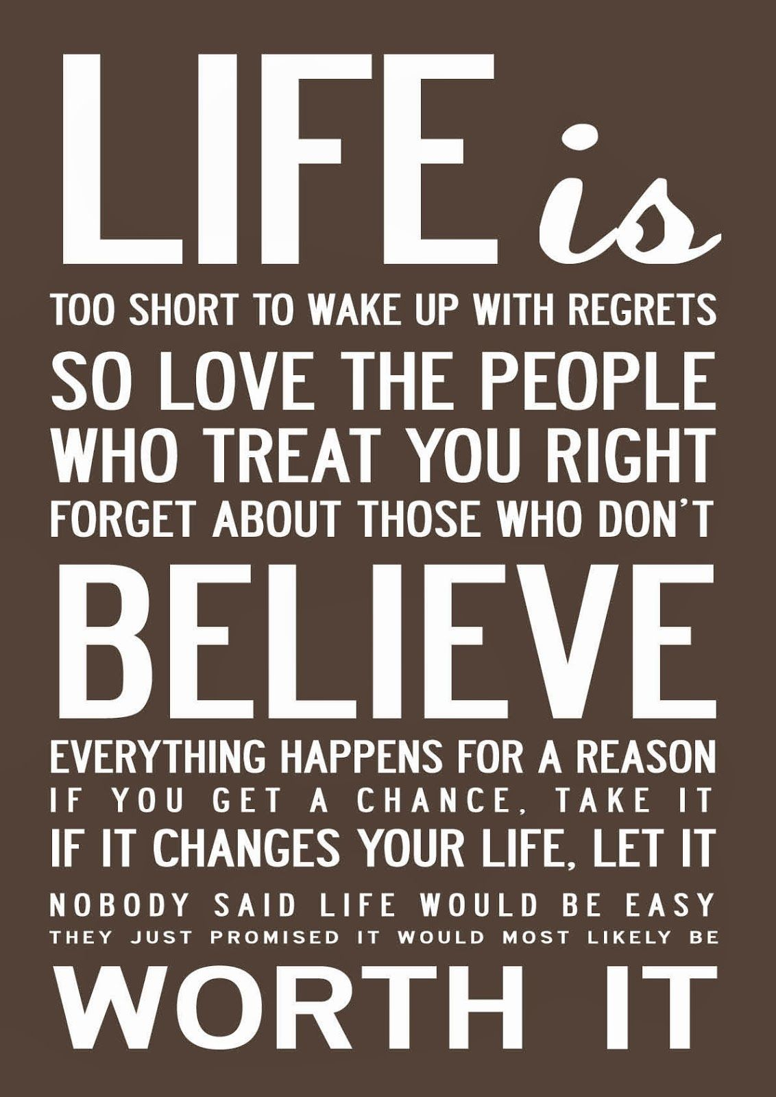 Short Quotations Inspirational And Motivational ' Life Is Too Short' Quote Print