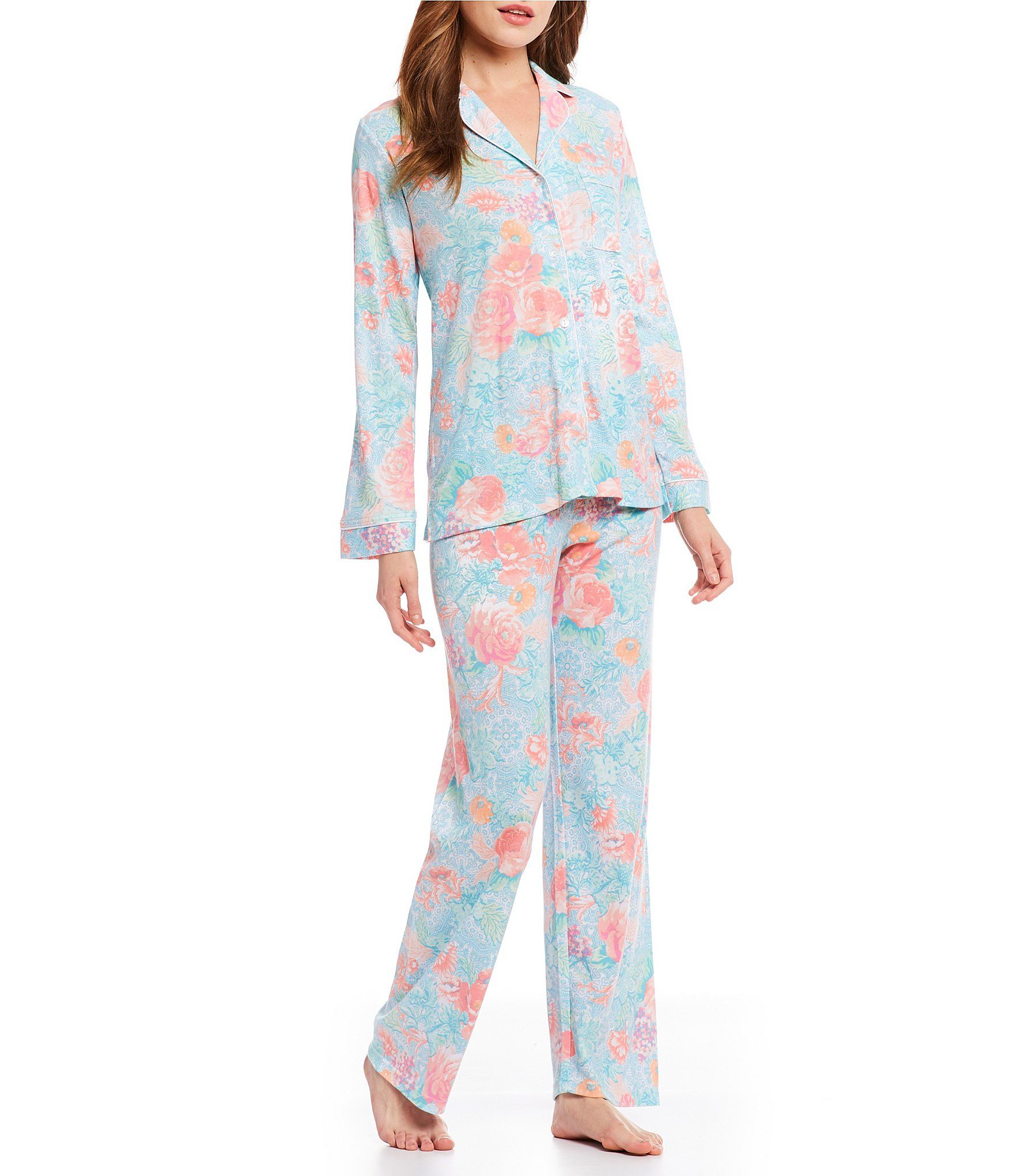8e3770e819 Miss Elaine Cottonessa Floral and Filigree Pajamas  Dillards ...