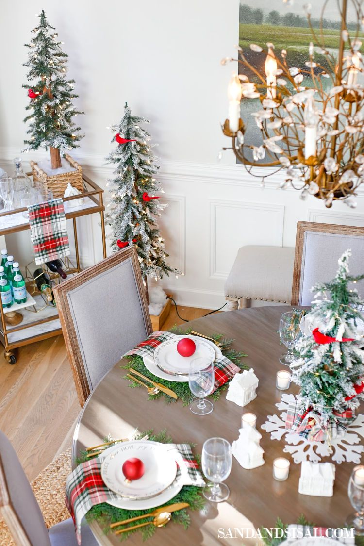 Christmas Village Table Setting And Holiday Entertaining Ideas Christmas Table Decorations Outdoor Christmas Decorations Christmas Table Settings