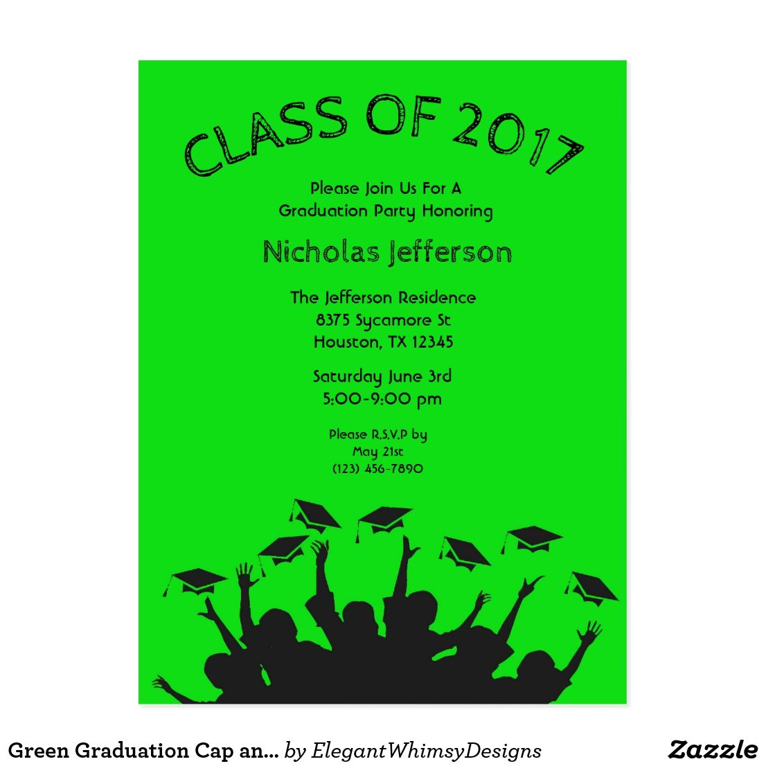 Green Graduation Cap and Gown Cap Toss Invitation | Pinterest ...