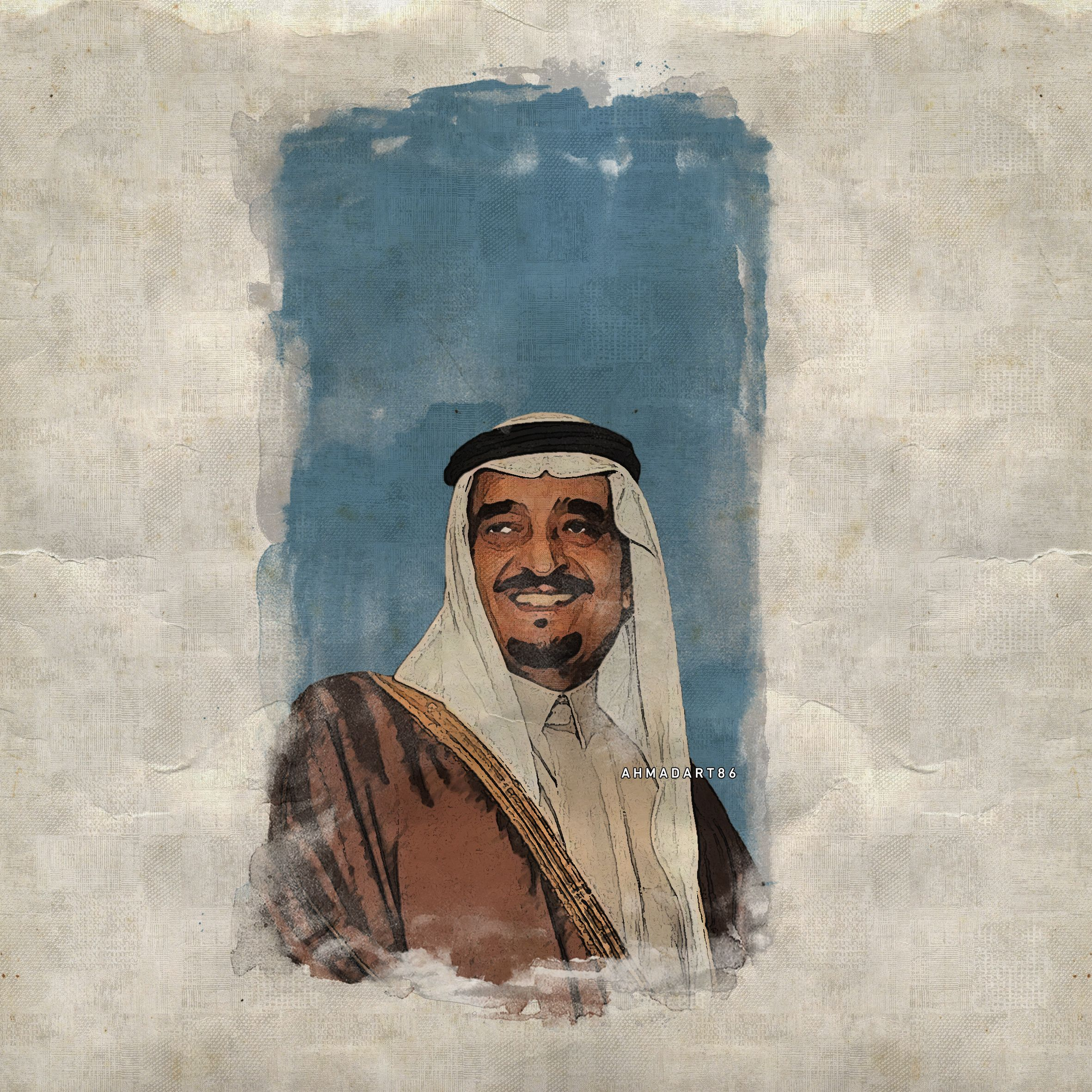 الملك فهد بن عبدالعزيز King Fahad Bin Abdulaziz Al Saud Art Painting Pop Art