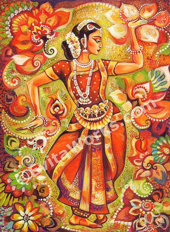 80d5394ee Indian classical dance painting, Bharatanatyam, Goddess dancer, Indian  woman…