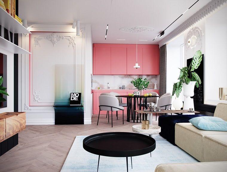Open space con cucina e zona giorno stili di arredamento casa