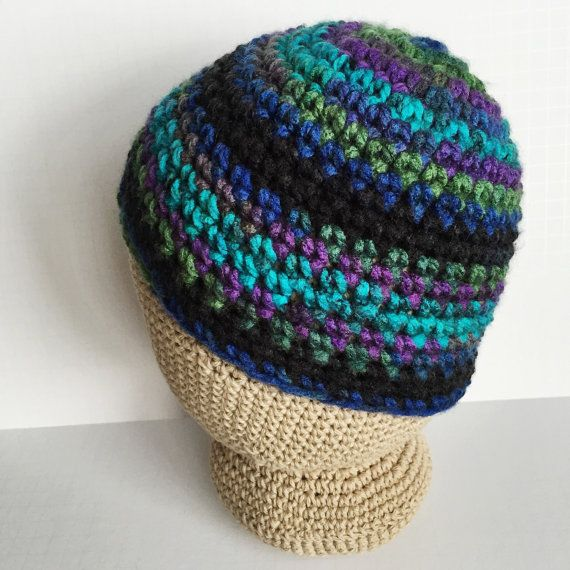 I love the colors in this beanie! Womens Northern Lights Beanie- Chunky  Purple Green Blue Black Striped Beanie- Crochet Hat for Women- Handmade in  Colorado- ... c3013337af