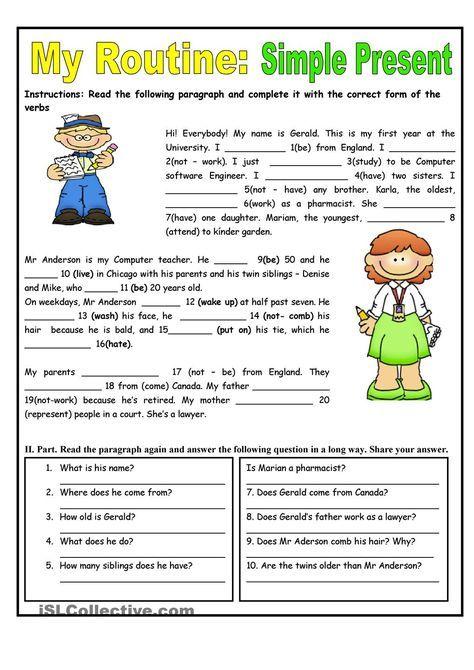 My Routine. Simple Present Tense - worksheet - kindergarten level ...