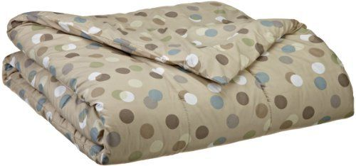 Contemporary Vue Dots Comforter, Bisque Cream, King Size by Contemporary Vue. $40.01. Soft feel, rich color comforter. Reversible print in contenporary styling. 100-percent polyester. Machine washable. Dots bisque circle design 100-percent polyester comforter adds a comfy, while sophisticated look to your rooms. The feel is soft and colors paster: circles of chocolate, white, sage, and steel blue on a beige background. King size is 102-inch by 86-inch.