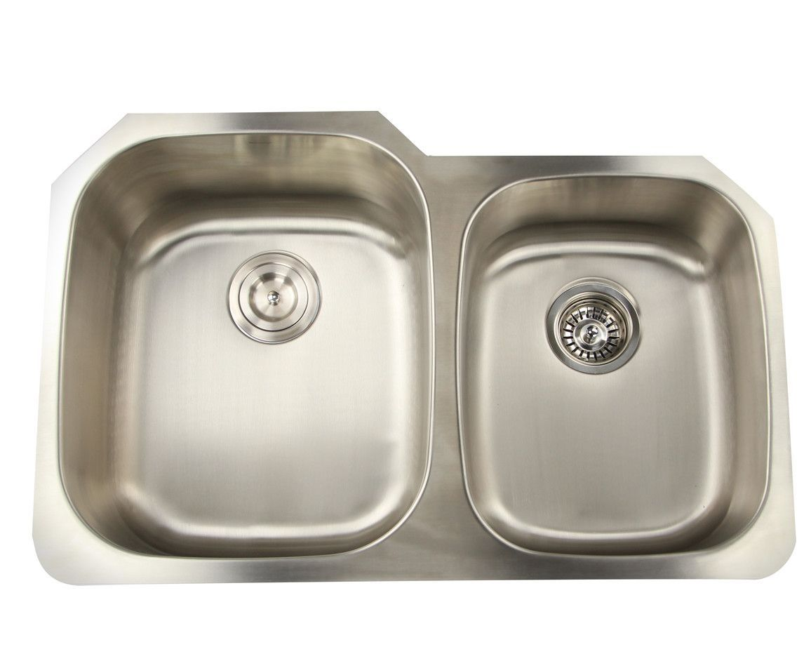 """Falmouth 31.63"""" x 20.75"""" 16 Gauge Stainless Double Bowl Kitchen Sink"""