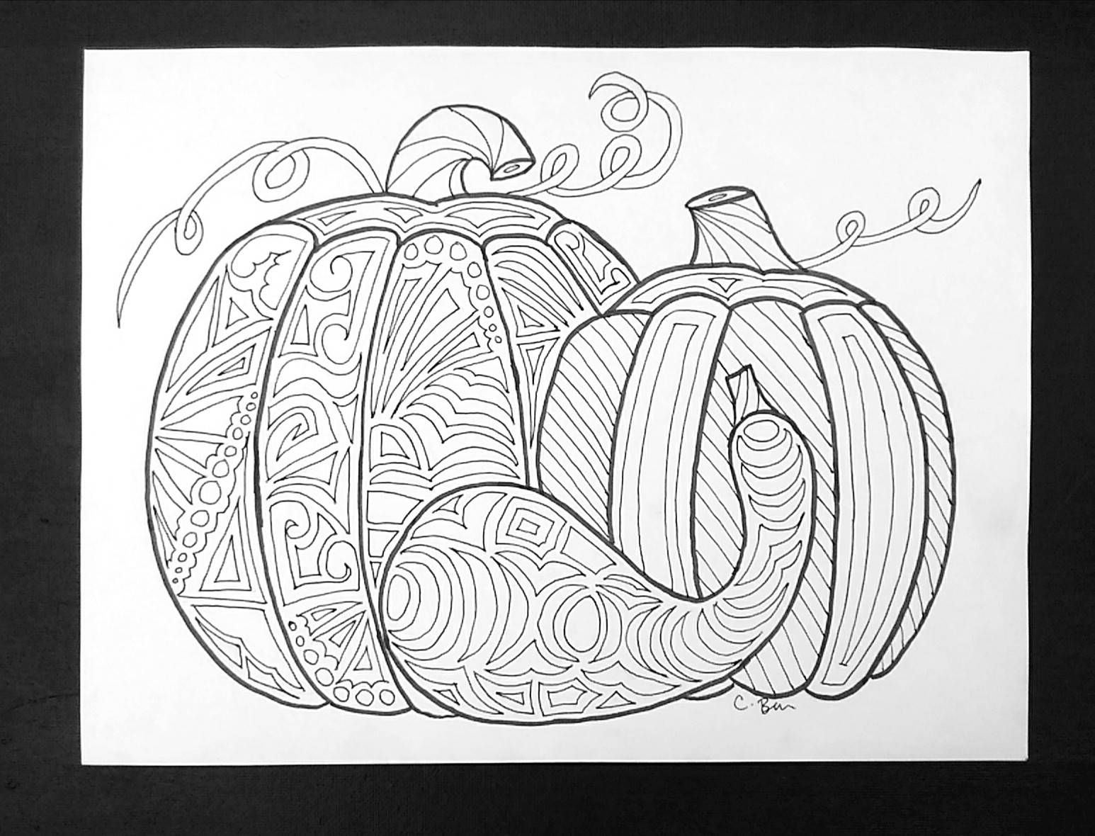 Pumpkin printable adult coloring page x in adult coloring