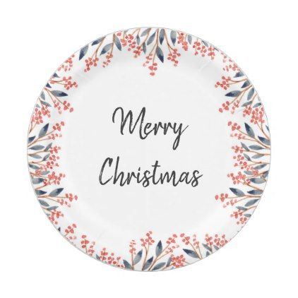 Watercolor Red Holiday Party Winter Berries Leaves Paper Plate  sc 1 st  Pinterest & Watercolor Red Holiday Party Winter Berries Leaves Paper Plate ...