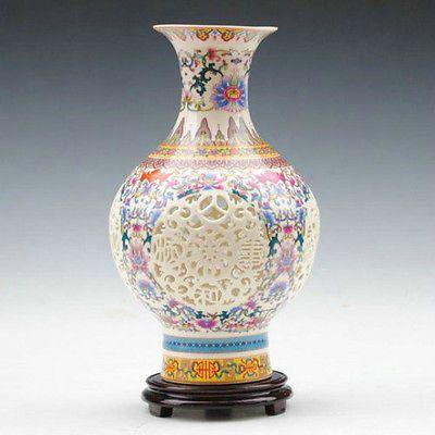 China rosa colorida calado porcelana florero tallado! coleccionables! NR(China (Mainland))