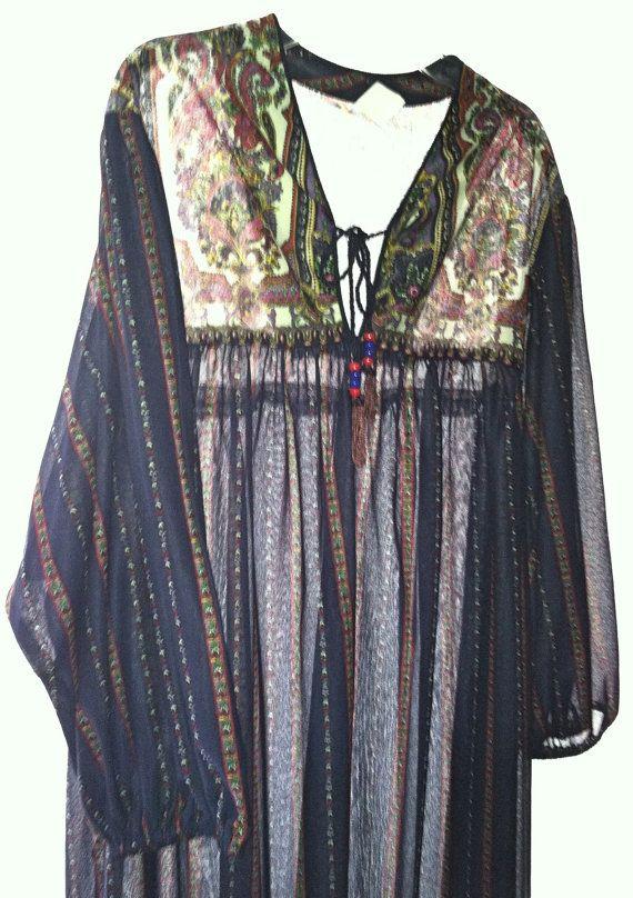 Hippie Boho Vintage plus size sheer paisley by ThisaThatVintage, $8.00