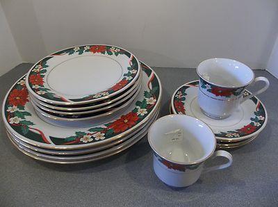 Tienshan Fine China Deck The Halls 14 PC Set Christmas Dinnerware Poinsettia | eBay & Tienshan fine china DECK the HALLS 14 pc set CHRISTMAS DINNERWARE ...