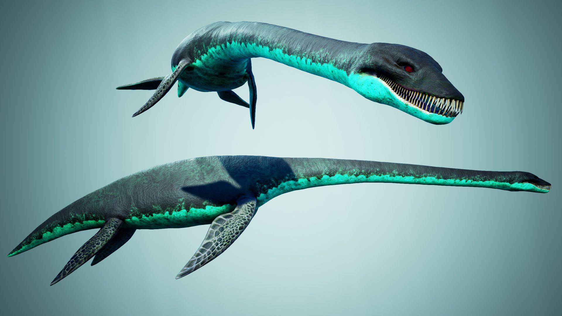 Ocean Plesiosaur Elasmosaurus Low Poly 3d Models Loch Ness Monster Ocean