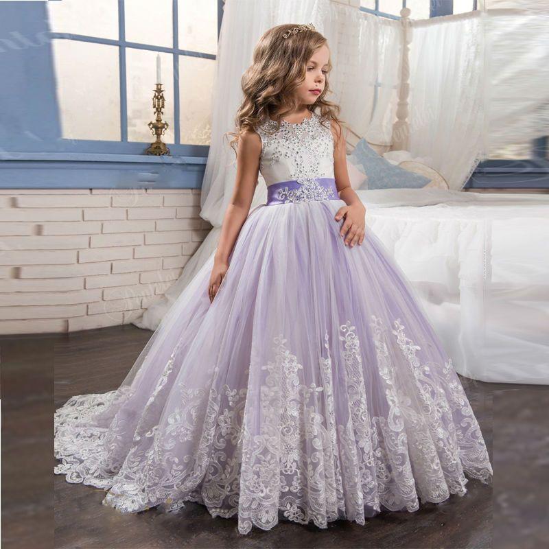 536f016793ae4 Pas cher Abaowedding princesse lilas petite mariée longue robe de reconstitution  historique pour les filles glitz 2017 puffy tulle robe de bal robe de ...